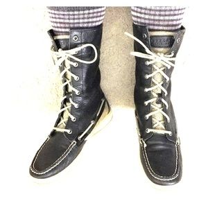 Sperry top-sider leather high tops sz 8.5 awesome